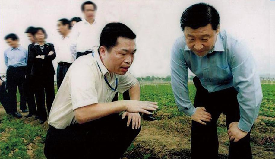 习近平总书记在粤旺基地听取有机蔬菜种植技术汇报